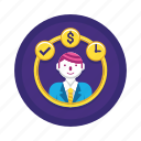 money, resources, time icon