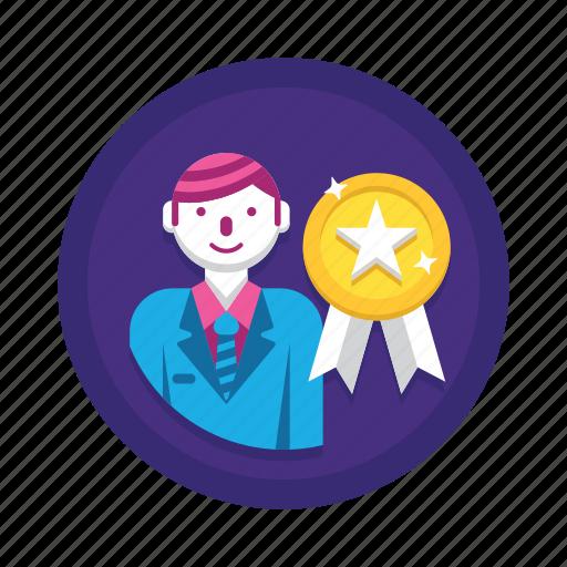 award, badge, top icon