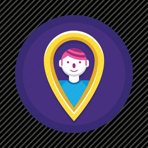 location, pin, user icon