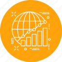 analytics, globe, officewark, preparation, presentation, project, wark icon