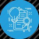 bulb, document, idea, page, project, web icon