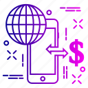 device, dollar, globe, international, internet, onlinepay, phone icon