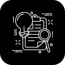 bulb, document, find, idea, project, search icon