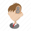 brain, cartoon, concept, gear, head, human, people icon