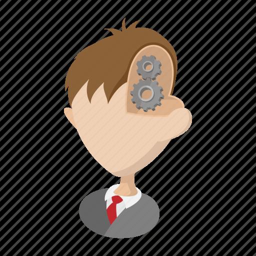 brain, cartoon, concept, gear, head, human, people icon