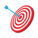 arrow, cartoon, center, dart, dartboard, success, target icon