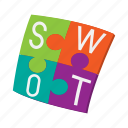 analysis, cartoon, concept, diagram, marketing, match, swot icon