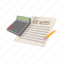 business, calculator, cartoon, finance, money, office, tax icon