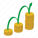 business, cartoon, coin, finance, growth, investment, success icon