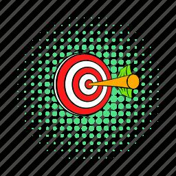 arrow, center, comics, dart, dartboard, success, target icon