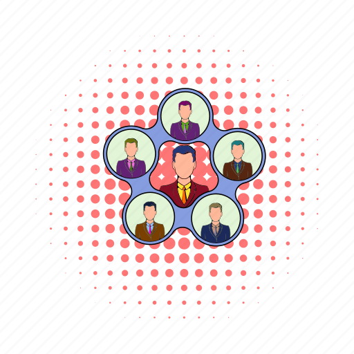 business, comics, hierarchy, leadership, organization, structure, team icon