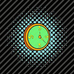 circle, clock, comics, pointer, round, time, watch icon