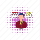 businessman, comics, communication, exclamation, person, question, success icon
