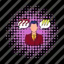 businessman, comics, communication, exclamation, person, question, success icon
