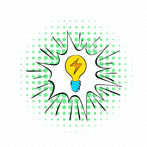 bulb, comics, electricity, energy, light, lightning, power icon