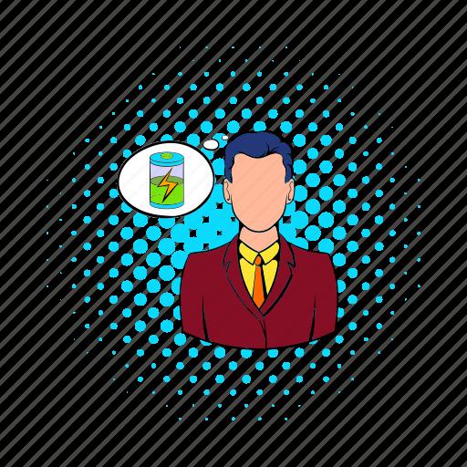 battery, business, cloud, comics, energy, man, power icon