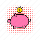 bank, coin, comics, finance, money, piggy, saving icon