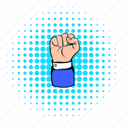 clenched, comics, fist, hand, protest, punch, revolution icon