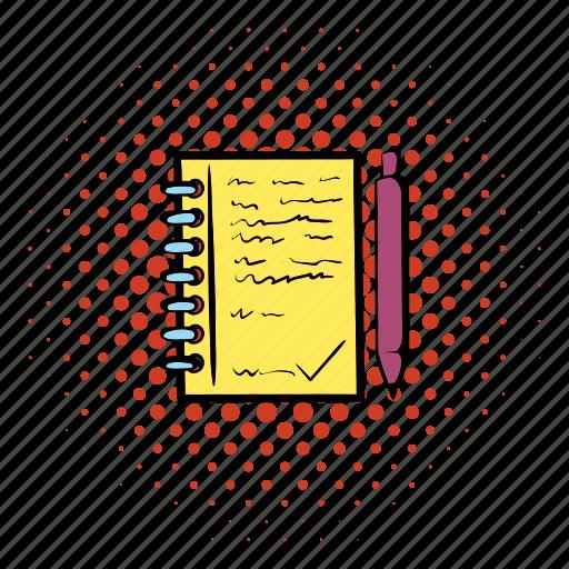 blank, comics, document, empty, office, paper, pen icon