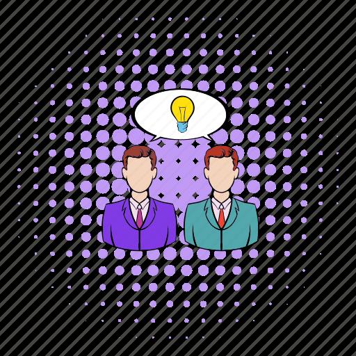 bulb, business, businessman, comics, creative, idea, innovation icon