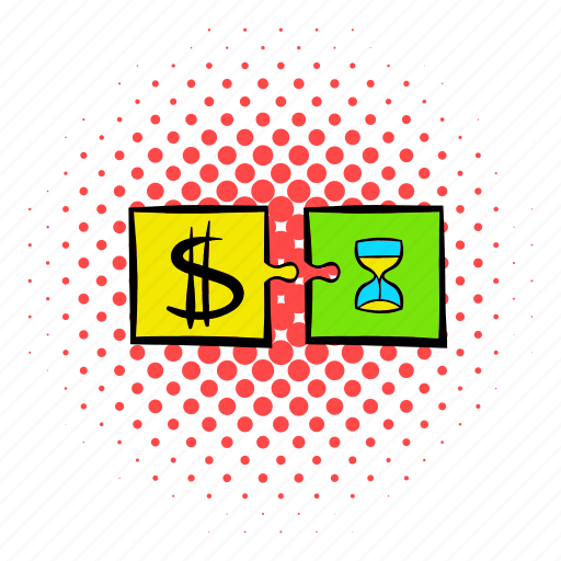 coin, comics, hourglass, money, puzzle, success, time icon