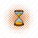clock, comics, countdown, glass, sand, time, hourglass icon