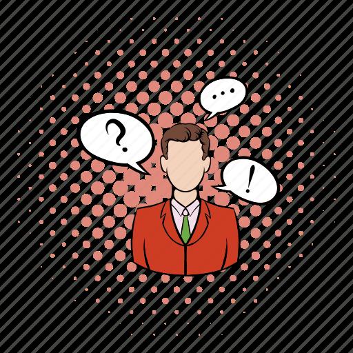 business, businessman, cloud, comics, exclamation, man, question icon