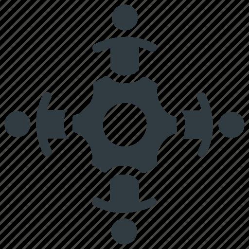 development, gear, progress, team, together, unity, work icon