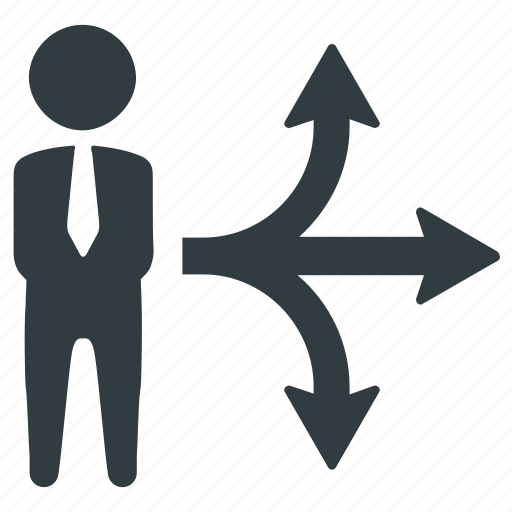 business, businessman, career, choice, decision, direction, way icon