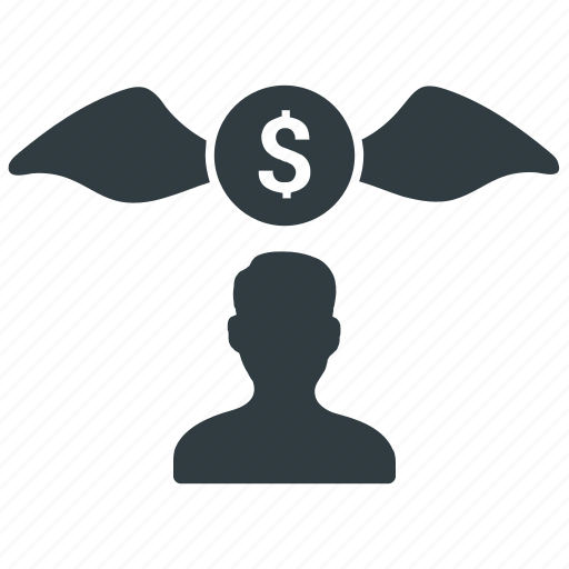 businessman, coin, flying, money icon