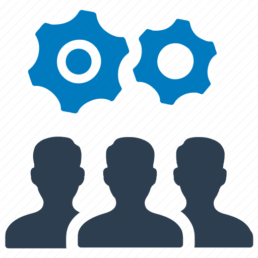 business strategy, efficiency, gear, management, planning, solution, teamwork icon