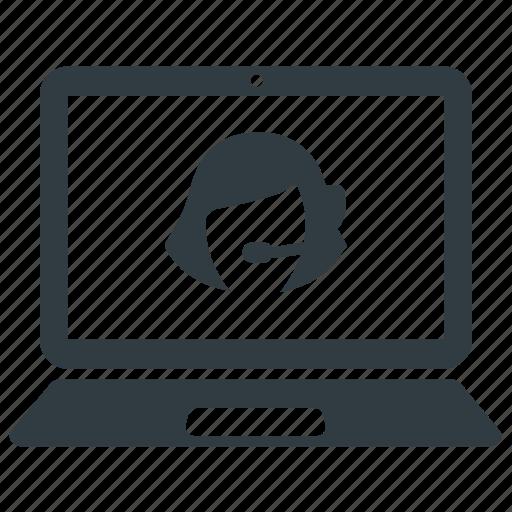 call, center, customer, desk, help, helpline, laptop, online, operator, service, support icon