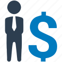 businessman, communication, conversation, dollar, financial advisor, merchant, salesman icon