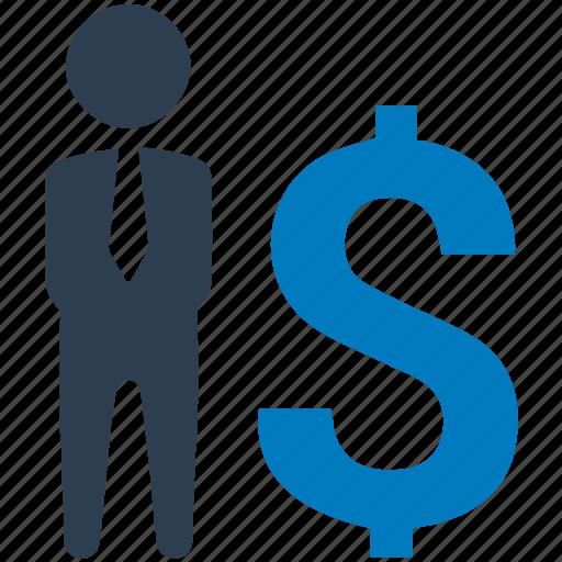businessman, communication, conversation, dollar, financial advisor, merchant, salesman icon