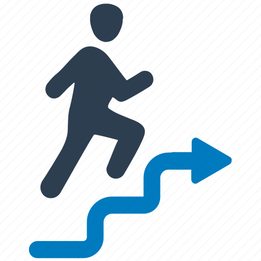 business success, business vision, businessman, running, stairs icon