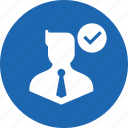approve, avatar, business, businessman, man, true, verify icon