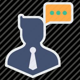 avatar, business, chatting, communication, man, thinking icon