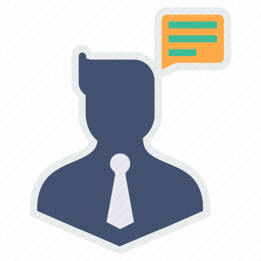 avatar, business, chatting, communication, man, thinking icon