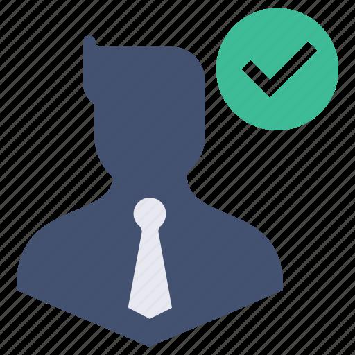 approve, avatar, business, businessman, man, true, verify icon