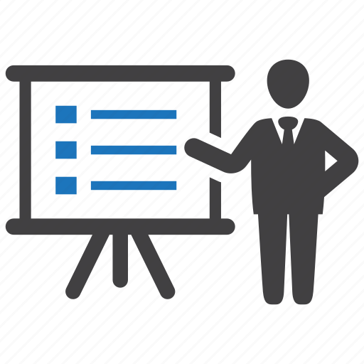 business, businessman, data, presentation, report icon