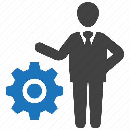 business, businessman, gear, leader, manager, operation icon