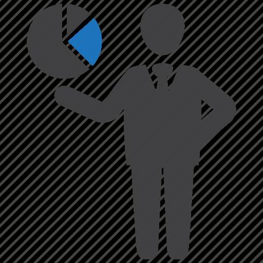 business, businessman, chart, graph, pie icon