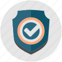 business, check, firewall, protection, shield, tick icon