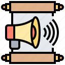 advertising, announcement, communication, report, speaker icon