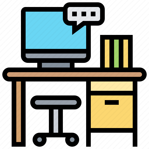 desk, furniture, office, table, workspace icon