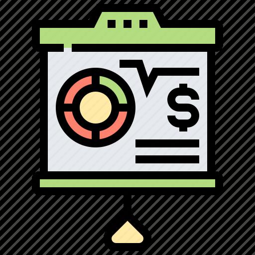 analysis, investment, plan, presentation, report icon