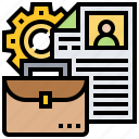 application, briefcase, recruitment, report, resume icon