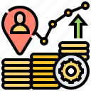 analysis, career, graph, growth, revenue icon