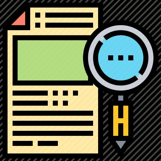 application, recruitment, report, research, search icon