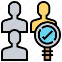 finding, focus, recruitment, search, selection icon